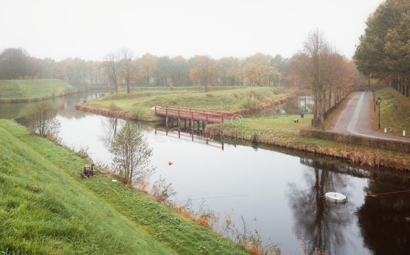 Området utanför den Bourtange fästningbyn i landskapet arkivfoto