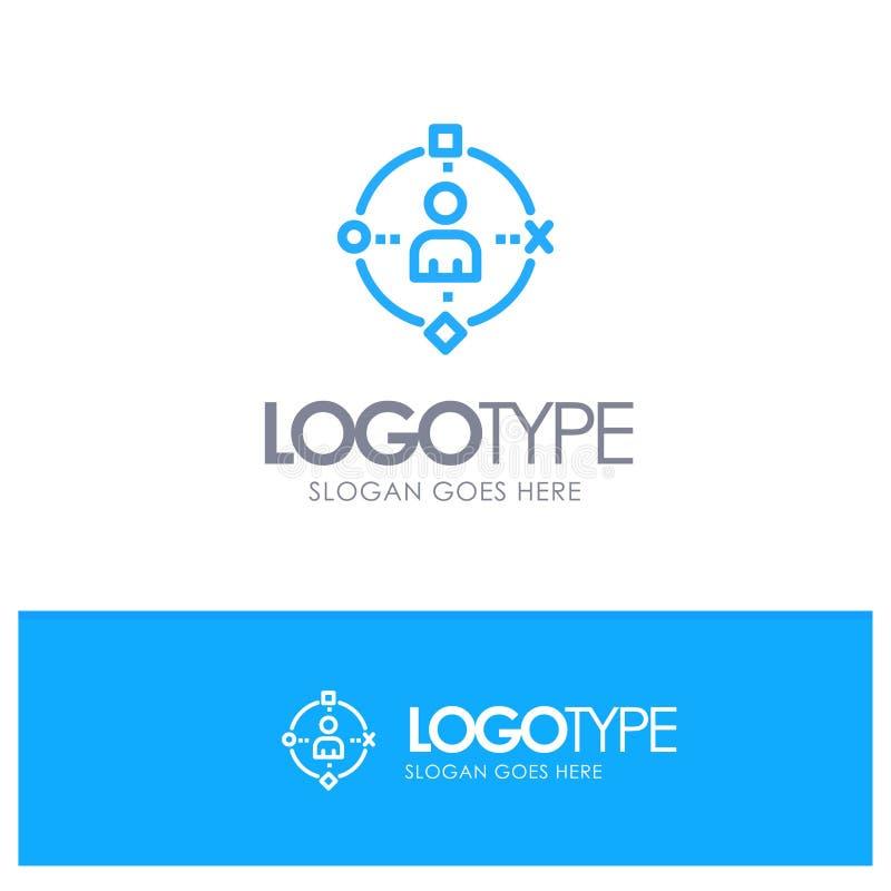 Omringend, Gebruiker, Technologie, ervaar Blauw Overzicht Logo Place voor Tagline vector illustratie