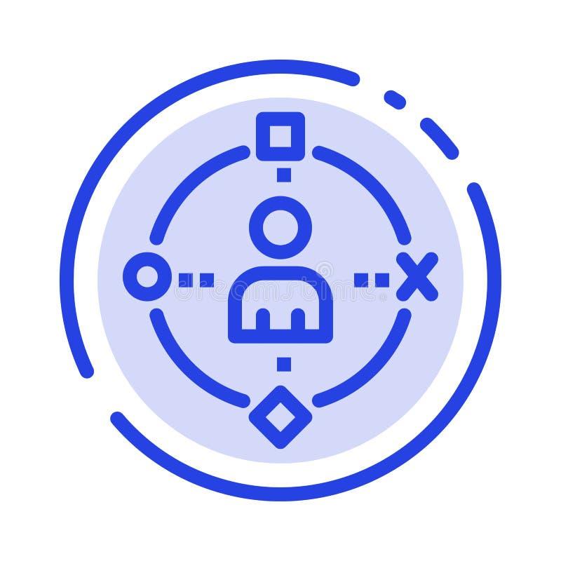 Omringend, Gebruiker, Technologie, ervaar het Blauwe Pictogram van de Gestippelde Lijnlijn vector illustratie