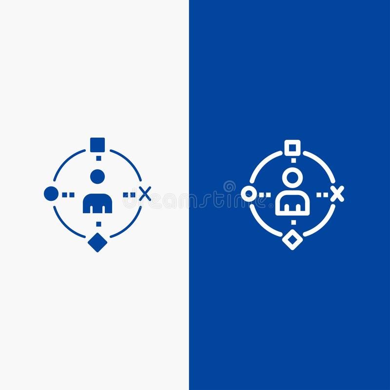 Omringend, Gebruiker, Technologie, Ervaringslijn en Lijn van de het pictogram Blauwe banner van Glyph de Stevige en Stevige het p stock illustratie