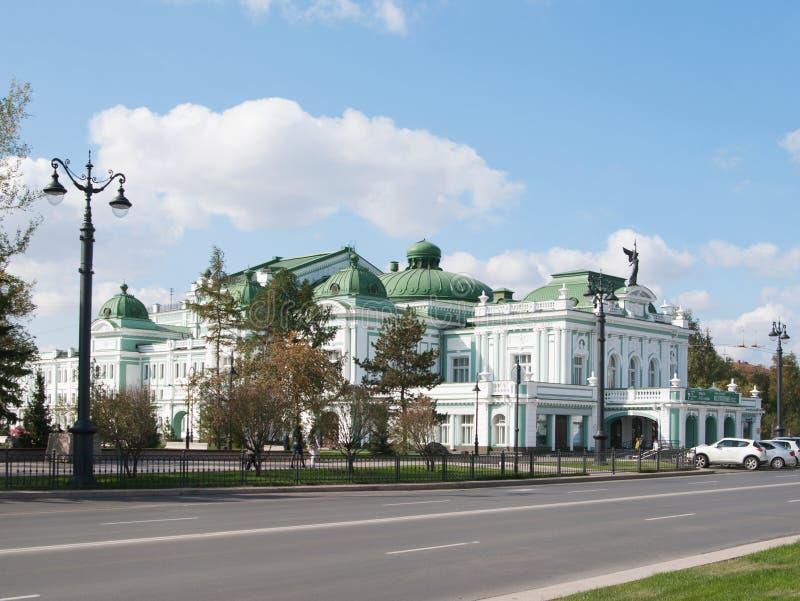 Omsk Rosja, Wrzesień, - 23, 2016: widok Akademicki dramata teatr obrazy stock