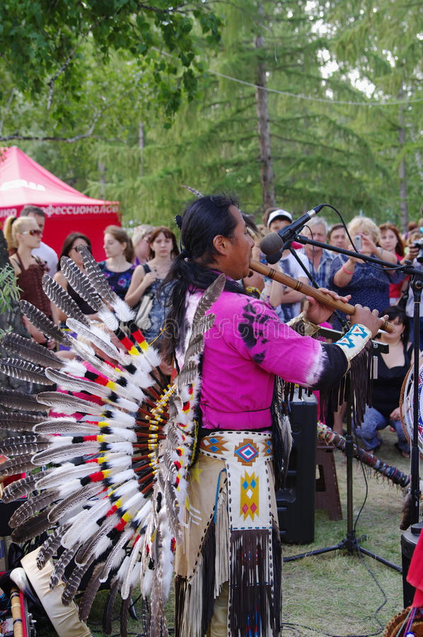 OMSK, RUSSIA - July 28, 2013: native americans ethnogroup 'Yarik-Ecuador', outdoor concert. OMSK, RUSSIA - July 28, 2013: performance of native americans royalty free stock photos