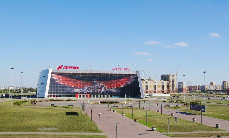 Omsk Ryssland - Augusti 31, 2014: sikt av sportkomplex arena Omsk', fotografering för bildbyråer