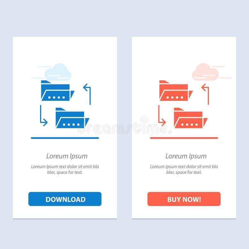 Omslag, Document die, Dossier, Dossier, Delend Blauwe en Rode Download en koopt nu de Kaartmalplaatje van Webwidget de delen stock illustratie
