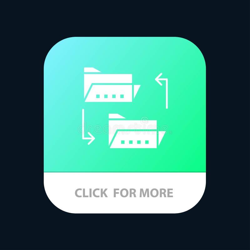 Omslag, Document die, Dossier, Dossier het Delen, Mobiele toepassingknoop delen Android en IOS Glyph Versie vector illustratie
