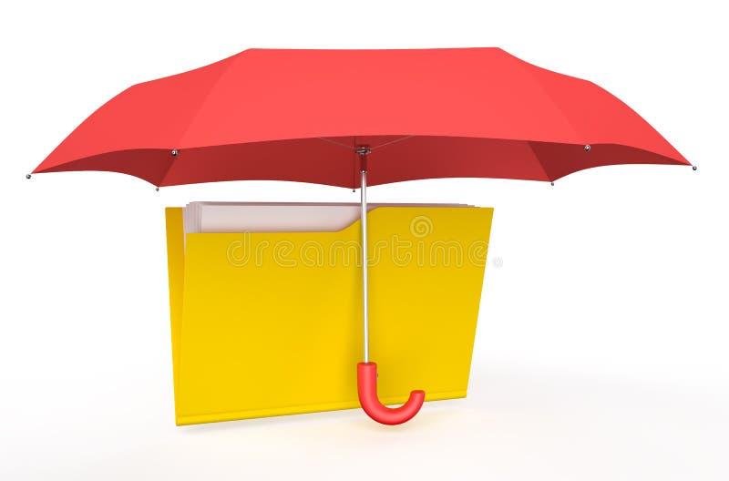 Omslag door rode paraplu wordt behandeld die vector illustratie