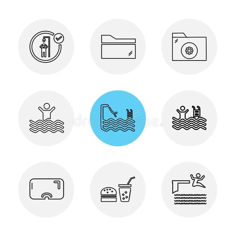 omslag, dossiers, de zomer, strand, picknick, dranken, eps geplaatste pictogrammen stock illustratie