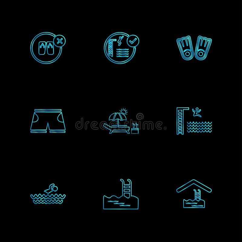 omslag, dossiers, de zomer, strand, picknick, dranken, eps geplaatste pictogrammen royalty-vrije illustratie