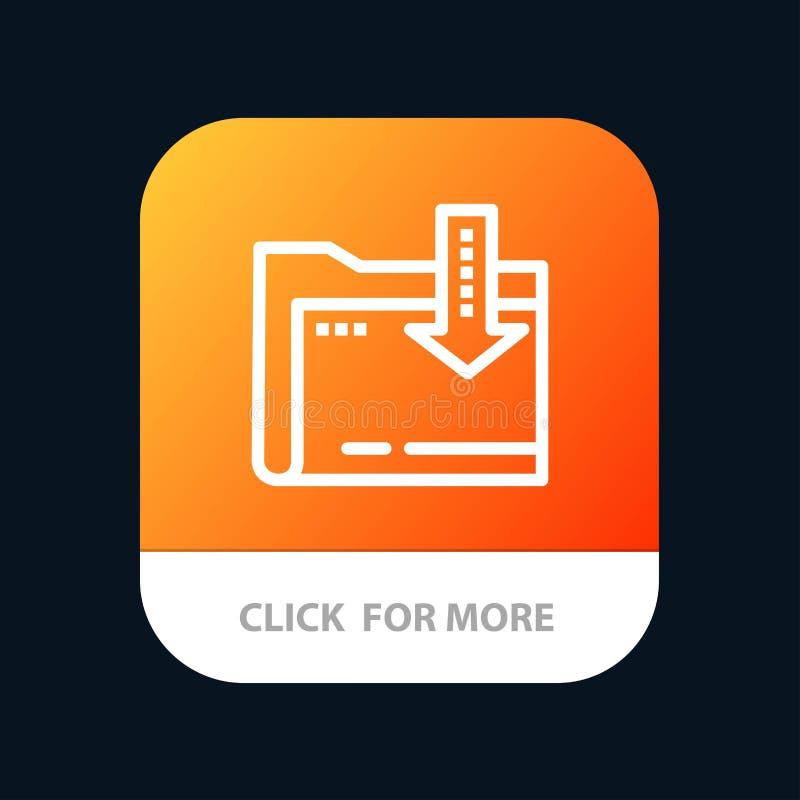 Omslag, Download, Gegevensverwerking, de Knoop van de Pijlmobiele toepassing Android en IOS Lijnversie stock illustratie