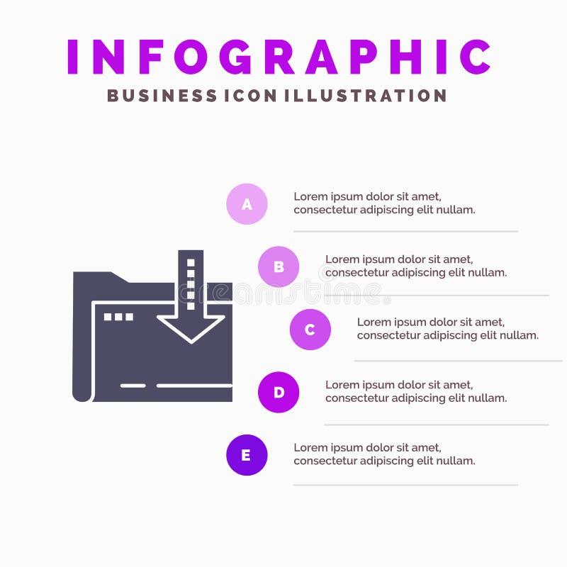 Omslag, Download, Gegevensverwerking, de Presentatiemalplaatje van Pijlinfographics 5 stappenpresentatie royalty-vrije illustratie