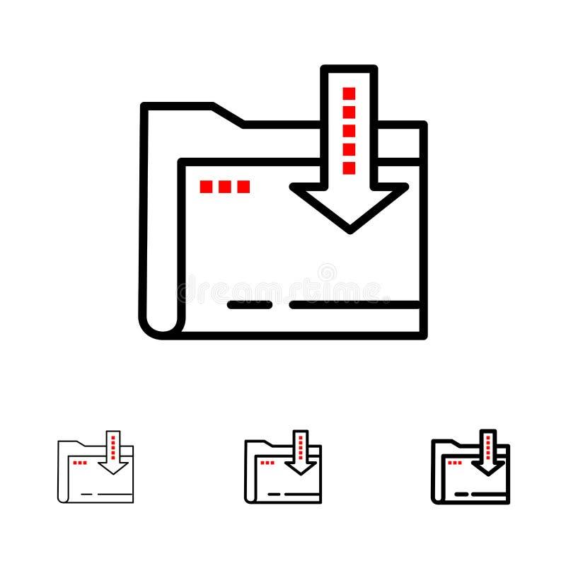 Omslag, Download, Gegevensverwerking, het pictogramreeks van de Pijl Gewaagde en dunne zwarte lijn stock illustratie