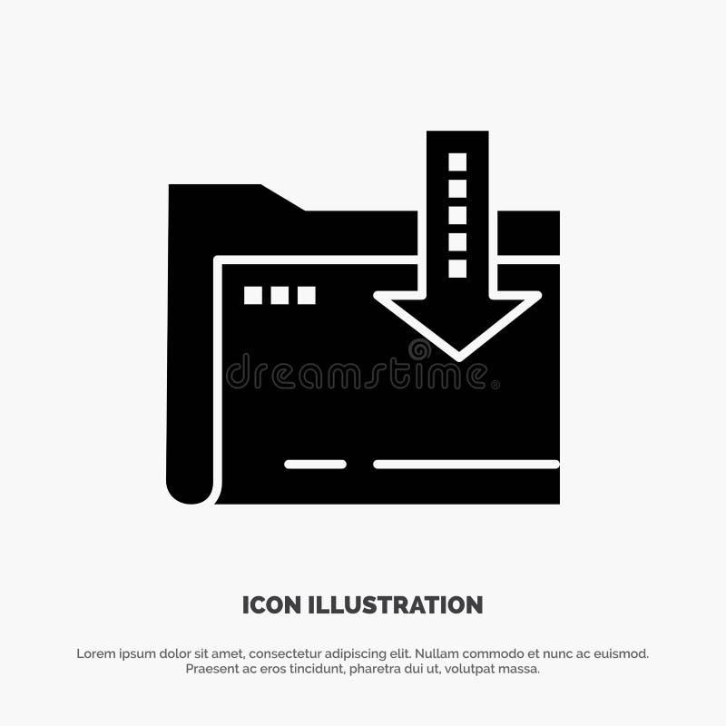 Omslag, Download, Gegevensverwerking, Pictogram van Pijl het Stevige Zwarte Glyph stock illustratie