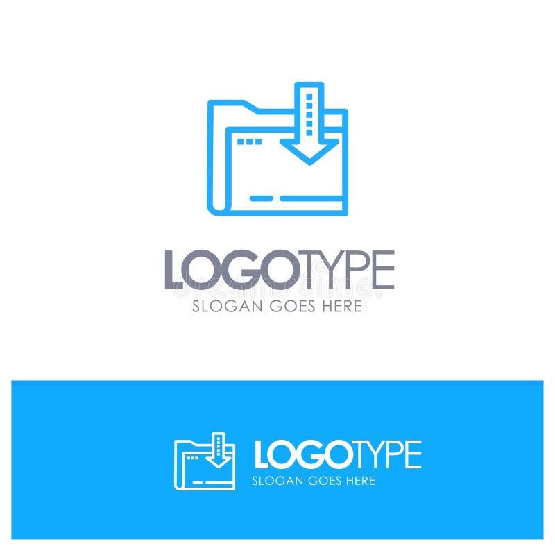 Omslag, Download, Gegevensverwerking, Pijl Blauw Logo Line Style royalty-vrije illustratie