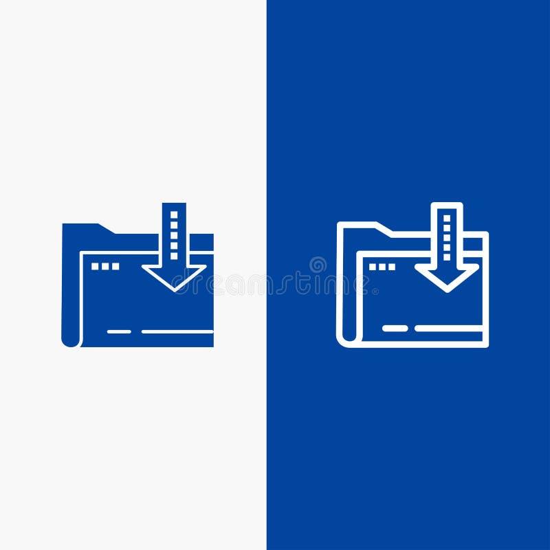 Omslag, Download, Gegevensverwerking, Pijllijn en Stevige het pictogram Blauwe banner van Glyph royalty-vrije illustratie