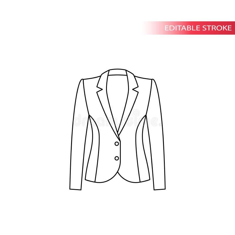Omslag eller blazer för damer, tunn linje teckning för formell design stock illustrationer