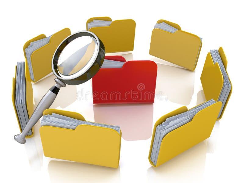 Omslag en dossieronderzoek met vergrootglas vector illustratie