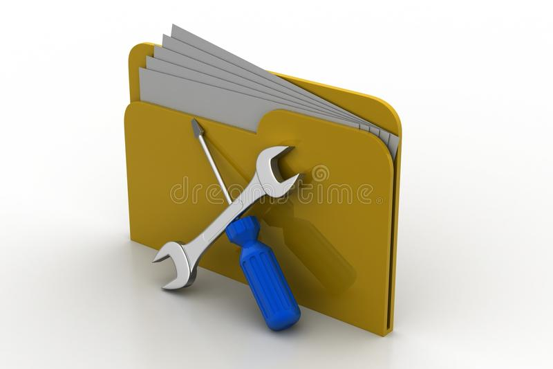 Omslag met moersleutel en schroevedraaier vector illustratie