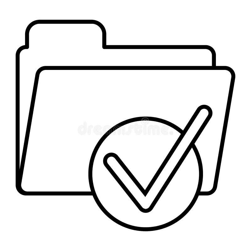 Omslag met pictogram van de tik het dunne lijn Klaar teken op omslag vectordieillustratie op wit wordt geïsoleerd Documentomslag  vector illustratie