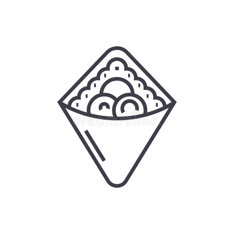 Omslag, snel voedsel, doner kebab, pictogram van de toost het vectorlijn, teken, illustratie op achtergrond, editable slagen vector illustratie