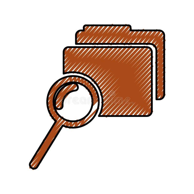 Omslagdossier met vergrootglas geïsoleerd pictogram royalty-vrije illustratie