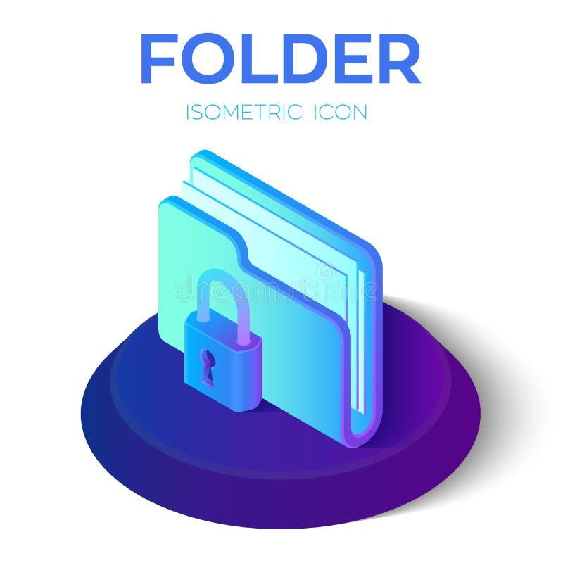 Omslagpictogram slot 3D Isometrisch Gesloten Omslagteken Het Concept van de Bescherming van gegevens Beveilig Gegevens Gecreeerd  stock illustratie