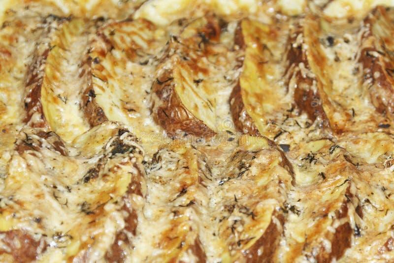 Omslagspotatisar med ost Med kryddor som bakas i ugnen fotografering för bildbyråer