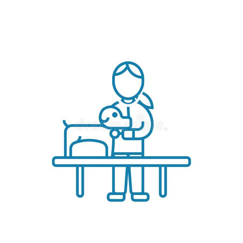 Omsorg av det linjära symbolsbegreppet för djur Omsorg av djur fodrar vektortecknet, symbolet, illustration stock illustrationer