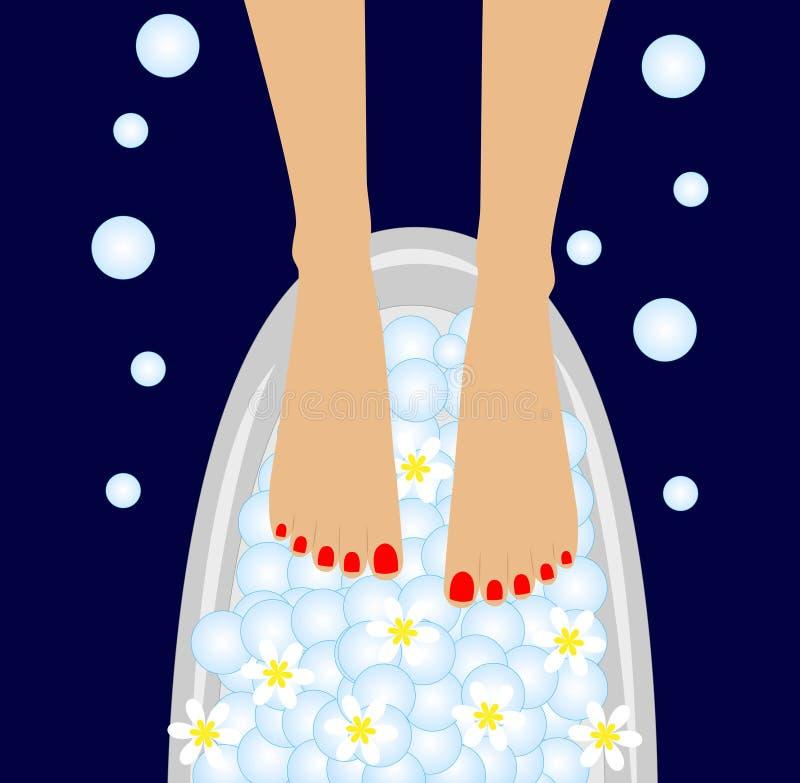 Omsorg av fot, fågelbad med blommorna av camomien stock illustrationer