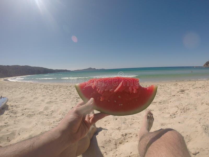 Omsorg för en kall skiva av vattenmelon! royaltyfri bild