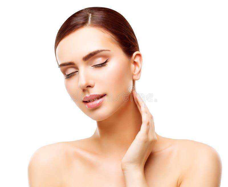 Omsorg för hud för kvinnaskönhetframsida, naturlig Skincare härlig makeup royaltyfria bilder