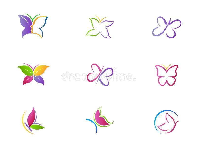 Omsorg för livsstilen för brunnsorten för fjärilslogoskönhet kopplar av den abstrakta vinguppsättningen av vektorn för symbolsymb stock illustrationer