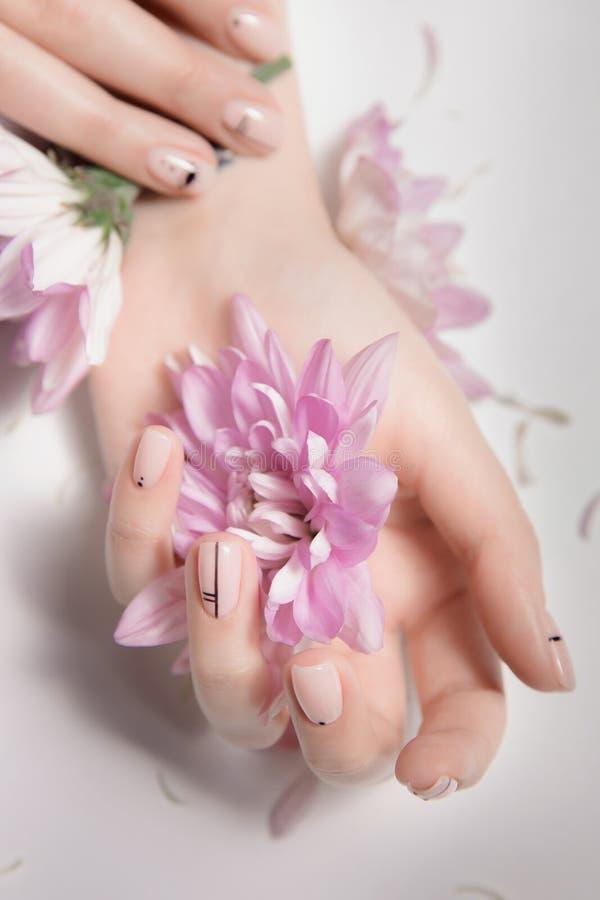 Omsorg för modekonsthud och näck manikyr Rosa blommor i händer royaltyfria foton