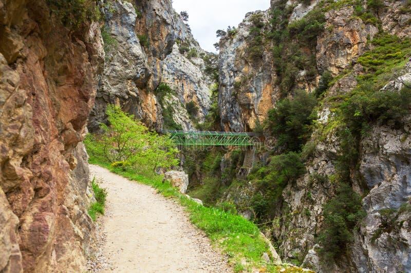 Omsorger för fotvandra slinga skuggar eller Ruta del Cares längs flodomsorger i molnig vårdag nära Cain, den Picos de Europa nati royaltyfri fotografi
