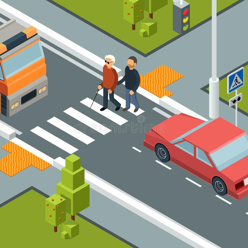 Omsorgpersonkorsning gata Stads- stadsövergångsställe av handikappmannen med isometriskt begrepp för hjälpredavektor stock illustrationer