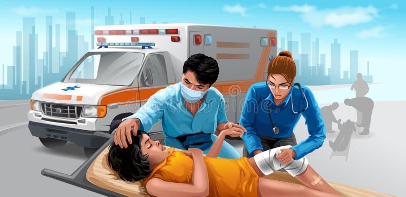 omsorgsnödlägeläkarundersökning stock illustrationer