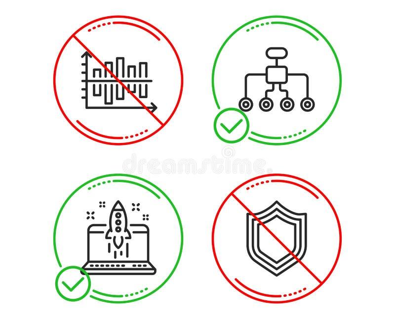 Omstrukturerings-, startaffär och uppsättning för diagramdiagramsymboler Säkerhetstecken vektor vektor illustrationer