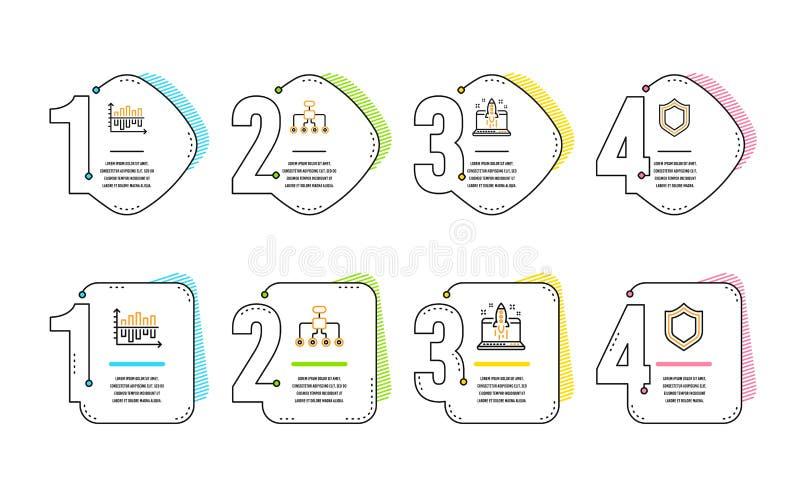 Omstrukturerings-, startaff?r och upps?ttning f?r diagramdiagramsymboler S?kerhetstecken vektor royaltyfri illustrationer