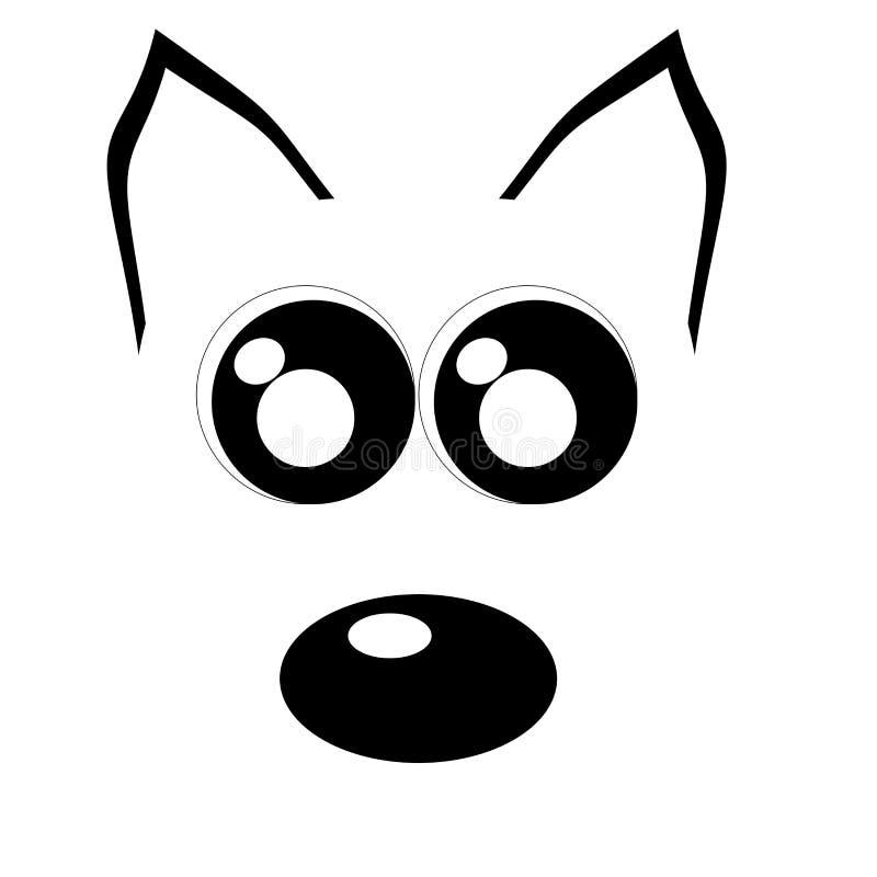 Omtrek van het honden gezicht stock illustratie