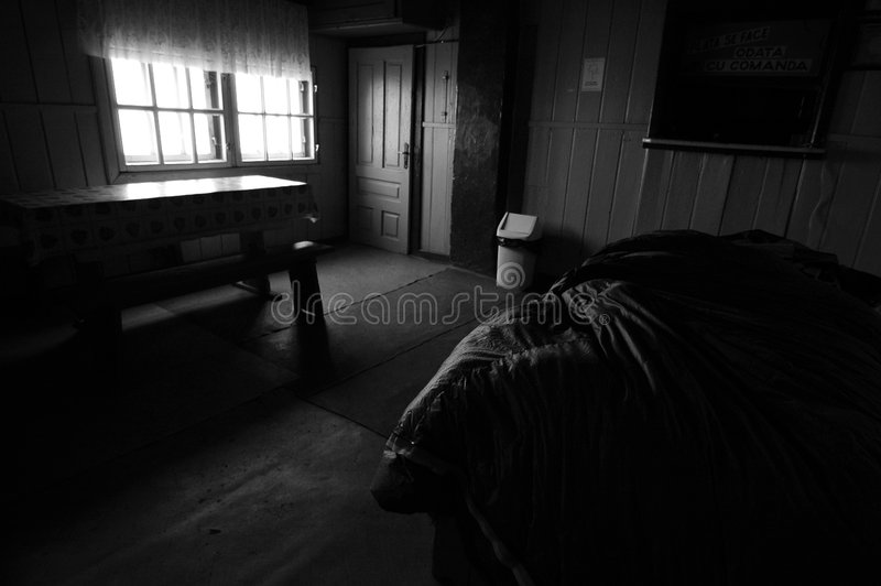 Omu Shelter Black And White. A black and white photograph of the interior of the Omu Shelter in the Valea Alba climbing area royalty free stock photography