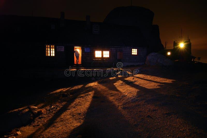 Omu Shelter At Night. The Omu Shelter in the Velea Alba climbing area at night stock photo