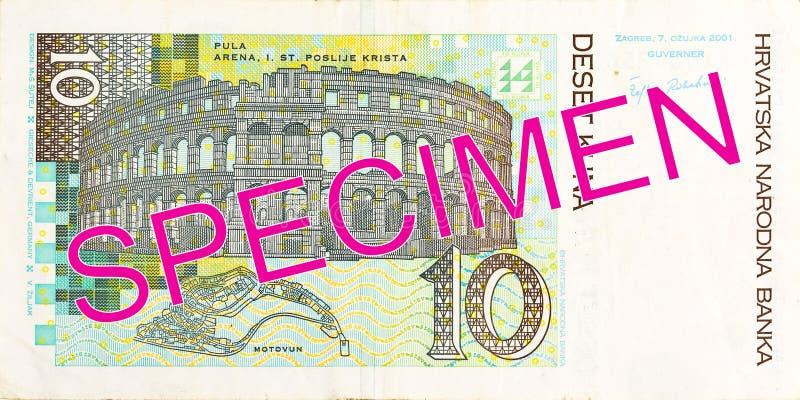 omvänd kunasedel för 10 kroat arkivfoto