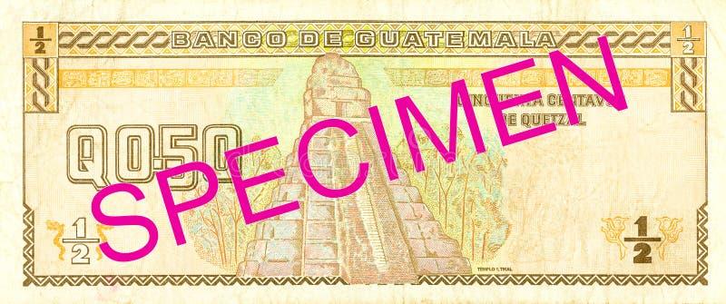 omvänd quetzalsedel för 0,5 guatemalan arkivbild