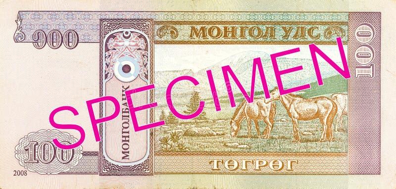 omvänd tögrögsedel för 100 mongolian royaltyfria foton