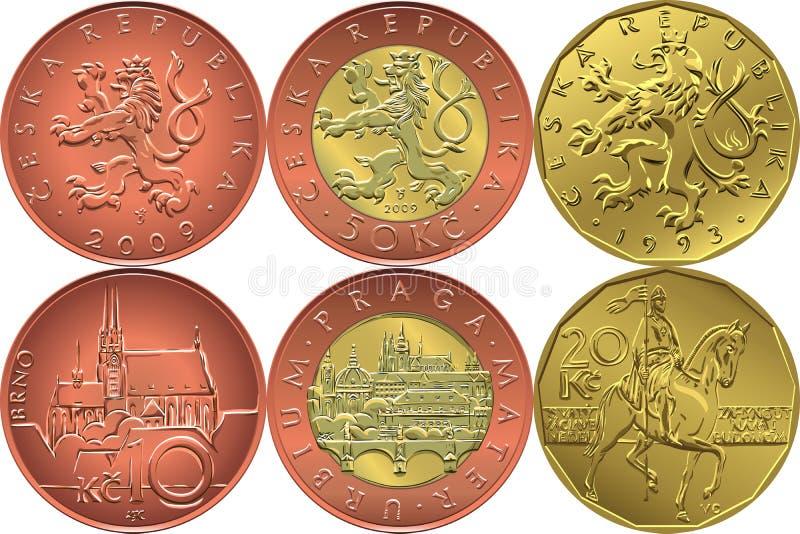 Omvänd vektoruppsättning och tjeckiskt pengarmynt för avers royaltyfri illustrationer