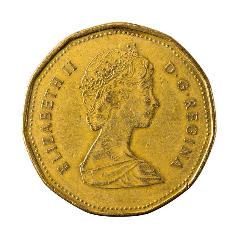 25 omvänt för mynt 1988 isolerade för kanadensisk dollar royaltyfria foton