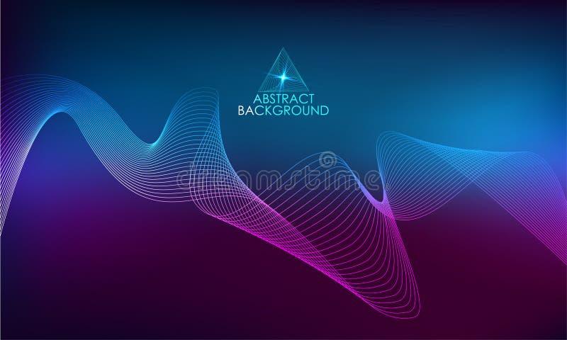 Omvang Abstracte Achtergrond met gekleurde dynamische golven royalty-vrije illustratie