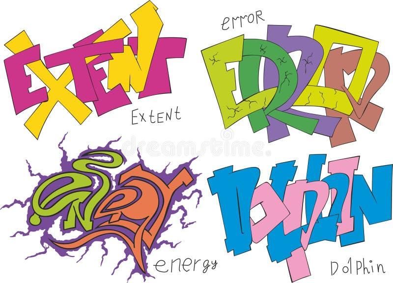 Omvang, fouten, energie en dolfijngraffiti stock illustratie