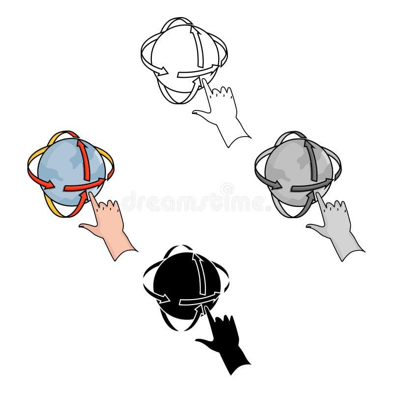 Omwenteling van bol in virtueel werkelijkheidspictogram in beeldverhaal, zwarte die stijl op witte achtergrond wordt geïsoleerd V royalty-vrije illustratie