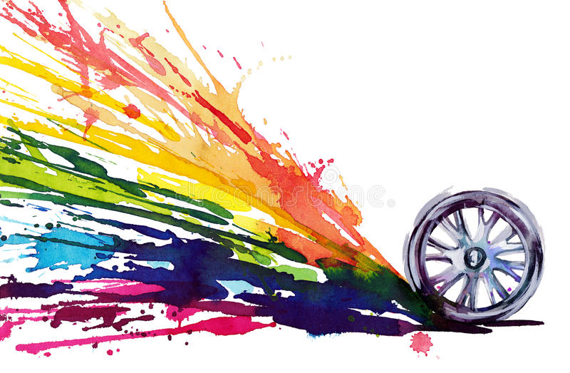 Omwenteling van het wiel stock illustratie