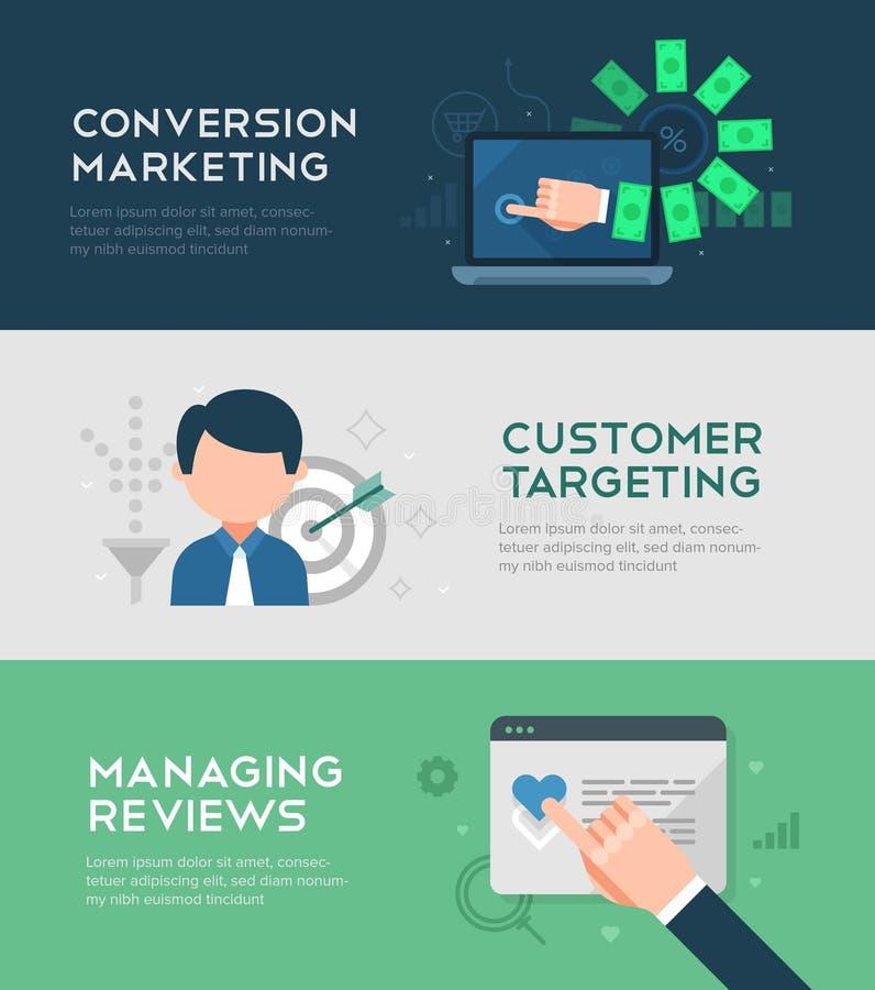 Omzetting Marketing Banners vector illustratie